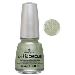 Wrinkling The Sheets China Glaze Light Powdered Green Crinkle Chrome Nail Varnish