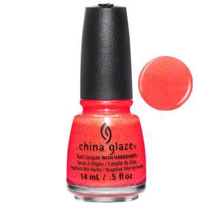 Papa Don't Peach China Glaze Orange Coral Shimmer Nail Varnish