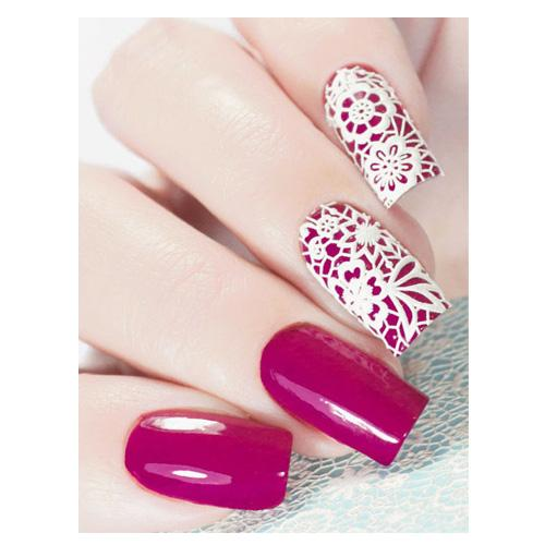 A10 White Lace 3D Water Transfer Nail Art Decal