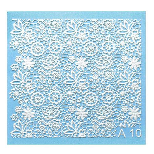 A10 Milvart 3D Nail art Water Transfer white lace can be applied over nail varnish or gel polish