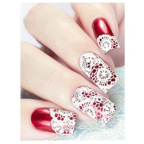 Milvart 3D White A14 Water Transfer Nail Art Decal Lace design can be used on nail varnish or gel polish