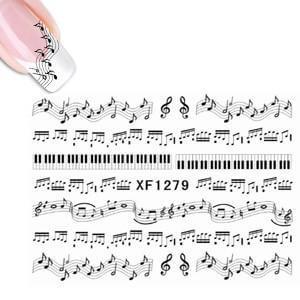 Water Decal XF1279 Sheet Black Music Notes