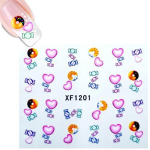 Water Decal XF1201 Sheet Multi Coloured Heart