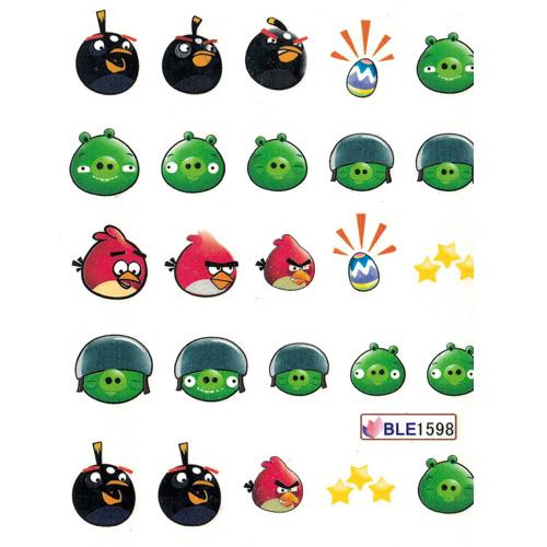 Nail Art Water Decal BLE1598 Angry Birds Theme