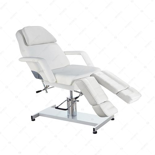 Pedicure Chair Bed Manual Deluxe in White vinyl
