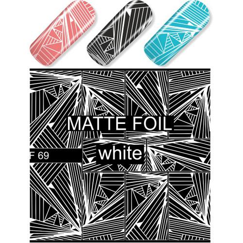 F69 White Abstract Lines Water Transfer Nail Art Decal use on nail varnish or gel polish.